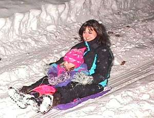 Picture of sledding at New Years Eve in Lancaster, New Hampshire