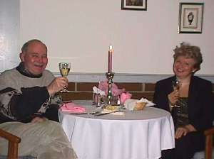 Joe and Elena Gott of the Lancaster Motor Inn toasting in the new year.