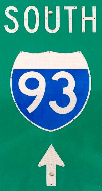 NH I-93 South sign in Ashland, NH