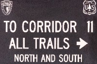 New Hampshire NH Corridoor 11 snowmobile trail sign