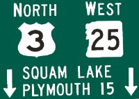 Squam Lake, Plymouth NH Routes 2 north and 25 west sign