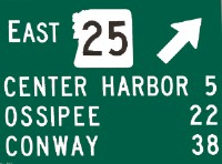 NH route 25 east, Center Harbor, Ossipee, Conway sign